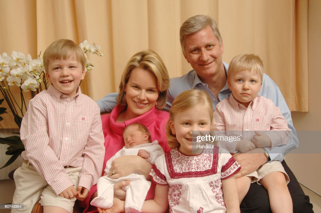 In this handout photo provided by the Royal Palace, Princess Mathilde and Prince Philippe of Belgium pose for a photo with newborn baby daughter Princess Eleonore at Erasmus Hospital on April 18, 2008 in Anderlecht, Belgium. Princess Eleonore (born April 16th) is the fourth child of Princess Mathilde and Prince Philippe, and younger sister to Princess Elisabeth, Prince Gabriel (L) and Prince Emmanuel (R).