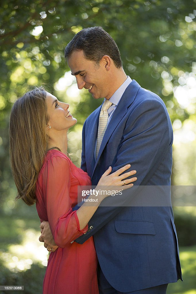 In this handout photo provided by the Royal Press Department, Princess Letizia of Spain and Prince Felipe of Spain pose at Zarzuela Palace on September 15, 2012 in Madrid, Spain. Princess Letizia of Spain celebrates her 40th birthday today.