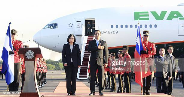 In this handout photo provided by the Salvadorian Chancery Tsai Ingwen President of Taiwan and the chancellor of the Republic of El Salvador Hugo...
