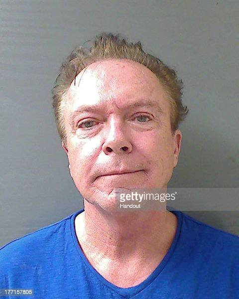 In this handout photo provided by the Schodack Police Department, David Cassidy is seen in a police booking photo after his arrest on charges of...