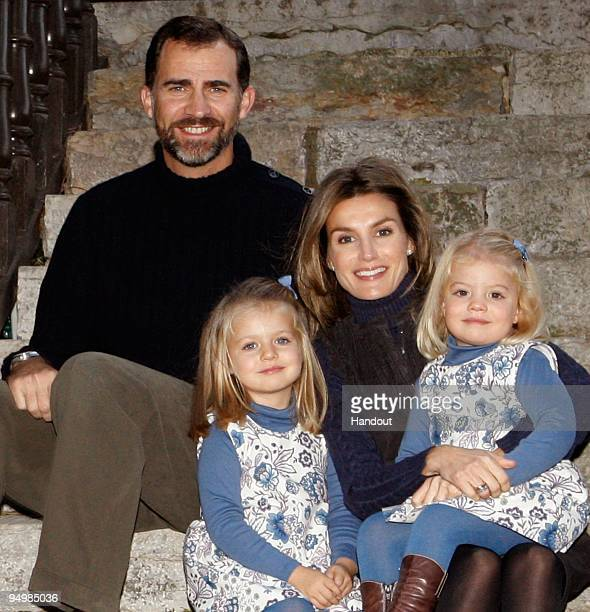 In this handout photo provided by the Spanish Royal House Prince Felipe and Princess Letizia with children Princess Sofia and Princess Leonor of...