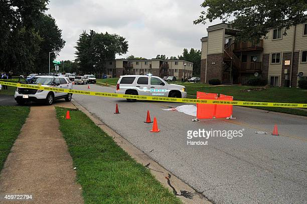 In this handout photo provided by the St. Louis County Prosecutor's Office, the body of Michael Brown lies on the ground as officials investigate the...