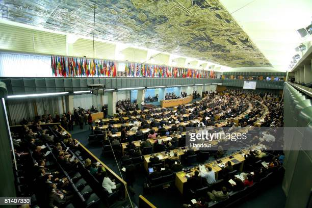 In this handout photo provided by the UN Food and Agriculture Organization A view of the FAO headquarters is seen during the UN Food Summit on June 3...