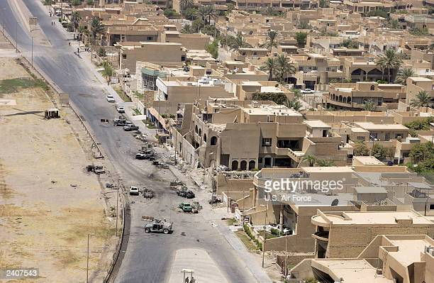 In this handout photo provided by the US Air Force a close up aerial photograph of the right side of the Jordanian Embassy August 10 2003 in Baghdad...