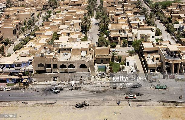 In this handout photo provided by the US Air Force a close up aerial photograph of the front of the Jordanian Embassy August 10 2003 in Baghdad Iraq...