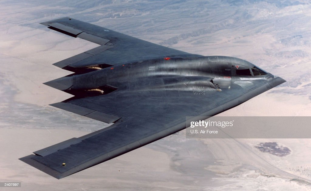 B-2 Flies Over Edwards Air Force Base : News Photo