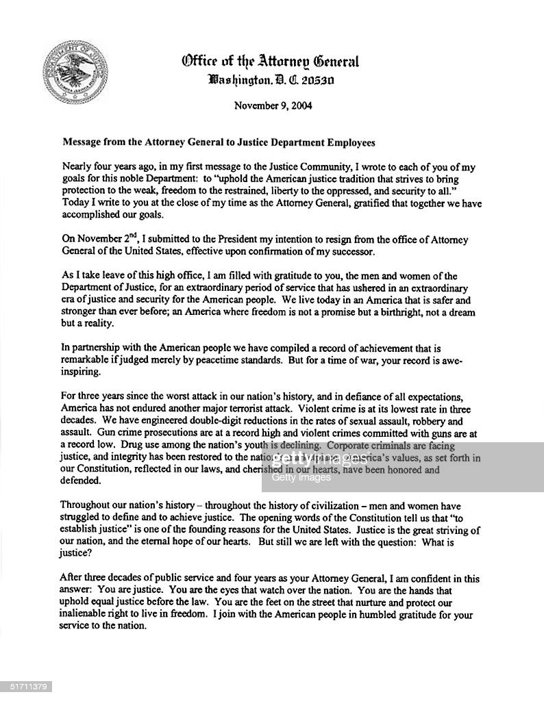 John ashcroft and don evans resign from cabinet photos and images in this handout photo provided by the us department of justice the resignation letter of aljukfo Gallery