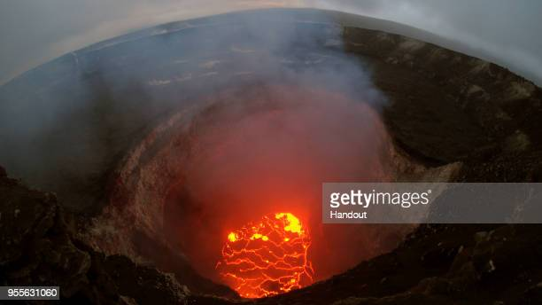 In this handout photo provided by the US Geological Survey the summit lava lake is reported to have dropped in levels after the eruption of Hawaii's...
