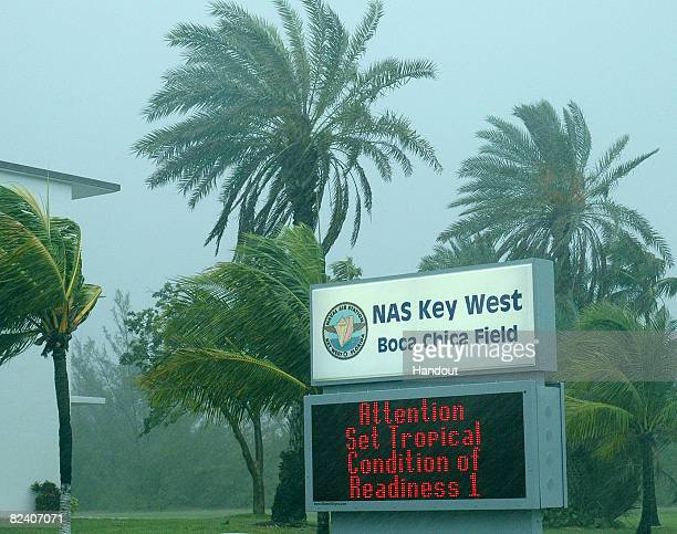 In this handout photo provided by the U.S. Navy, Naval Station Key West is at Condition of Readiness 1 as Tropical Storm Fay approaches the Florida...