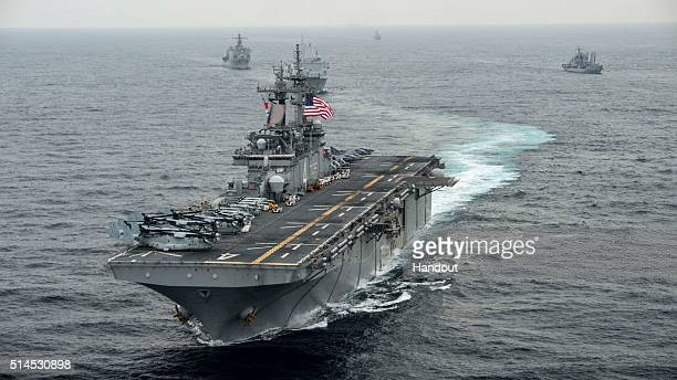 In this handout photo provided by the US Navy the amphibious assault ship USS Boxer transits the East Sea on March 8 2016 during Exercise Ssang Yong...