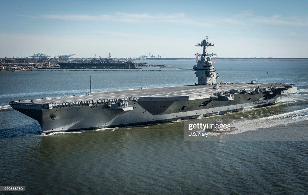 USS Gerald R. Ford Begins Builder's Sea Trials : News Photo