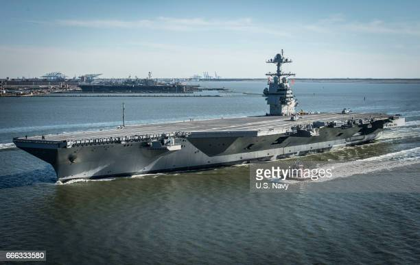 In this handout photo provided by the US Navy the future USS Gerald R Ford is seen underway on its own power for the first time on April 8 2017 in...