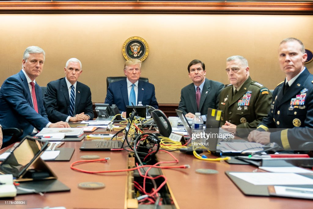 President Donald J. Trump Watches Raid On Abu Bakr al-Baghdadi's Compound : News Photo