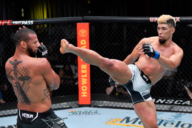 In this handout photo provided by UFC, Johnny Walker of Brazil kicks Thiago Santos of Brazil in their light heavyweight bout during the UFC Fight...