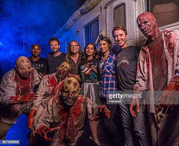 In this handout photo provided by Universal Orlando cast members from AMC's 'The Walking Dead' Lauren Cohan Alanna Masterson Seth Gilliam Ross...