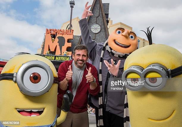 In this handout photo provided by Universal Orlando Resort Academy Award nominated actor Steve Carell had some fun with his 'Despicable' friends...