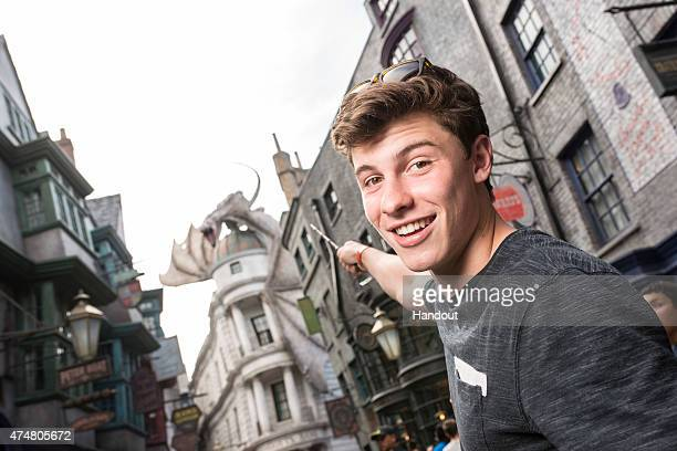 In this handout photo provided by Universal Orlando Resort singer Shawn Mendes visits The Wizarding World of Harry Potter Diagon Alley at Universal...