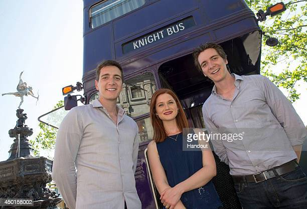 In this handout photo provided by Universal Orlando Resort Today James Phelps Bonnie Wright and Oliver Phelps from the popular Harry Potter film...