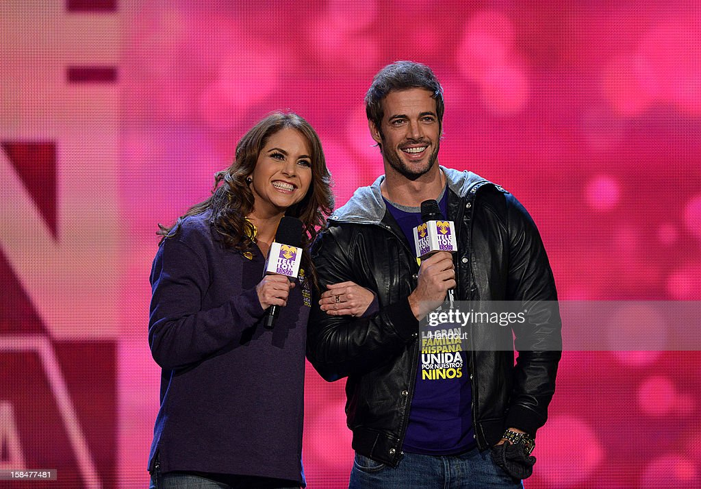 In this handout photo provided by Univision Networks, Mexican actress/singer Lucero with international actor William Levy lat the first-ever 28-hour TeletonUSA, a fundraising event for the benefit of children with disabilities, cancer, and autism in the United States broadcast on Univision Network on December 15, 2012 in Miami, Florida.
