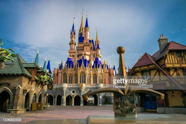 In this handout photo provided by Walt Disney World Resort, the Cinderella Castle inside Magic Kingdom Park is currently receiving a royal makeover,...