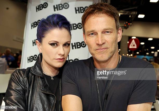 in this handout photo provided by Warner Bros Anna Paquin and Stephen Moyer of 'True Blood' attend ComicCon International 2014 on July 26 2014 in San...