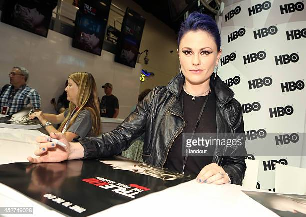 in this handout photo provided by Warner Bros Anna Paquin of 'True Blood' attend ComicCon International 2014 on July 26 2014 in San Diego California