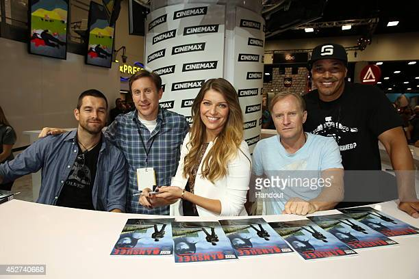 In this handout photo provided by Warner Bros Antony Starr Jonathan Tropper Ivana Milicevic Ulrich Thomsen and Geno Segers of Banshee attend ComicCon...