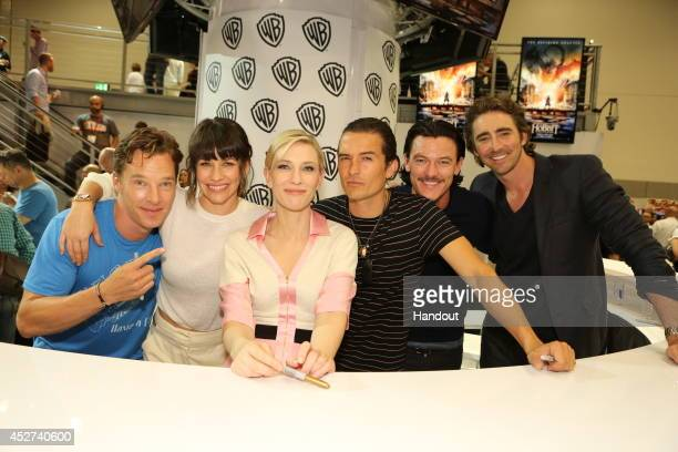 In this handout photo provided by Warner Bros, Benedict Cumberbatch, Evangeline Lilly, Cate Blanchett, Orlando Bloom, Luke Evans, and Lee Pace of...