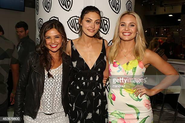 In this handout photo provided by Warner Bros Danielle Campbell Phoebe Tonkin and Leah Pipes of The Originals attend ComicCon International 2014 on...
