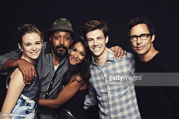 In this handout photo provided by Warner Bros Danielle Panabaker Jesse L Martin Candice Patton Grant Gustin and Tom Cavanagh of The Flash attend...