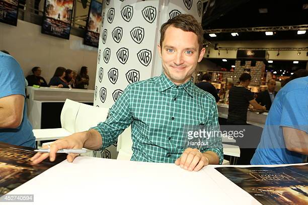In this handout photo provided by Warner Bros Elijah Wood of The Hobbit The Battle of the Five Armies attends ComicCon International 2014 on July 26...