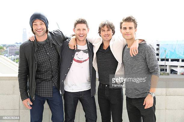 In this handout photo provided by Warner Bros Entertainment Inc SUPERNATURAL stars Jared Padalecki and Jensen Ackles with THE VAMPIRE DIARIES stars...