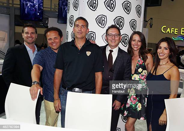 "In this handout photo provided by Warner Bros, Greg Plageman, Kevin Fusco, Jim Caviezel, Michael Emerson, Amy Acker, and Sarah Shahi of ""Person of..."
