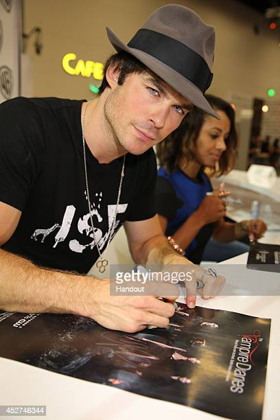 In this handout photo provided by Warner Bros Ian Somerhalder of 'The Vampire Diaries' attends ComicCon International 2014 on July 26 2014 in San...