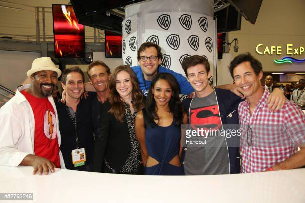 In this handout photo provided by Warner Bros Jesse L Martin Greg Berlanti John Wesley Shipp Danielle Panabaker Andrew Kreisberg Candice Patton Grant...