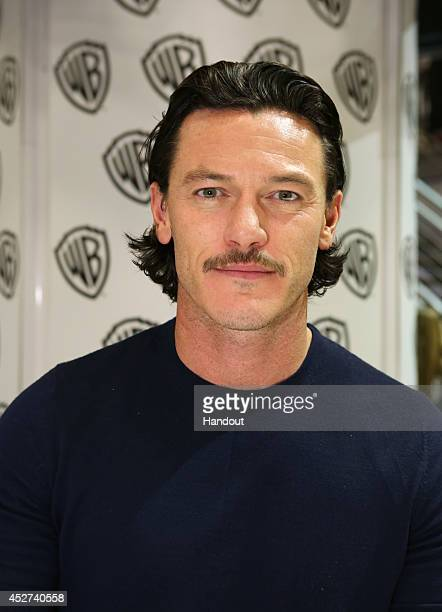 "In this handout photo provided by Warner Bros, Luke Evans of ""The Hobbit: The Battle of the Five Armies"" attends Comic-Con International 2014 on July..."