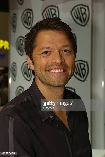 In this handout photo provided by Warner Bros Misha Collins of 'Supernatural' attends ComicCon International 2014 on July 27 2014 in San Diego...