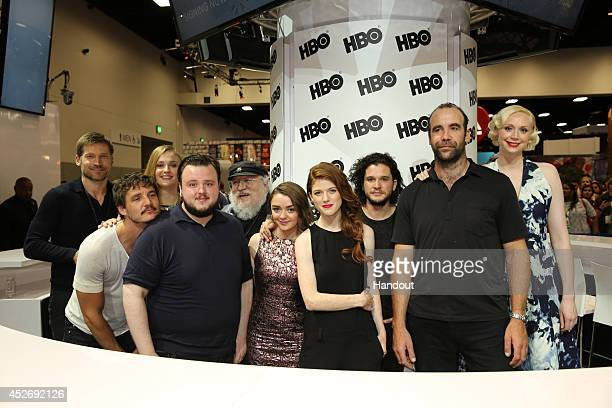 In this handout photo provided by Warner Bros Nikolaj CosterWaldau Pedro Pascal Sophie Turner and John Bradley author writer and coexecutive producer...