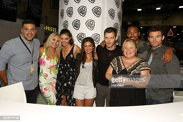 In this handout photo provided by Warner Bros The Originals coexecutive producer Michael Narducci series stars Leah Pipes Phoebe Tonkin Danielle...