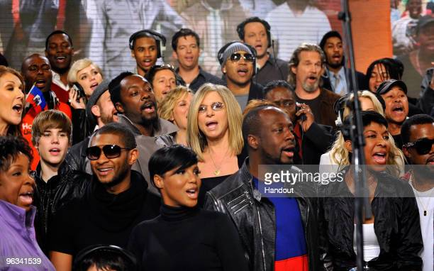 In this handout photo provided by WATW singers Celine Dion Justin Bieber Usher Katharine McPhee william Toni Braxton Barbra Streisand LL Cool J Harry...