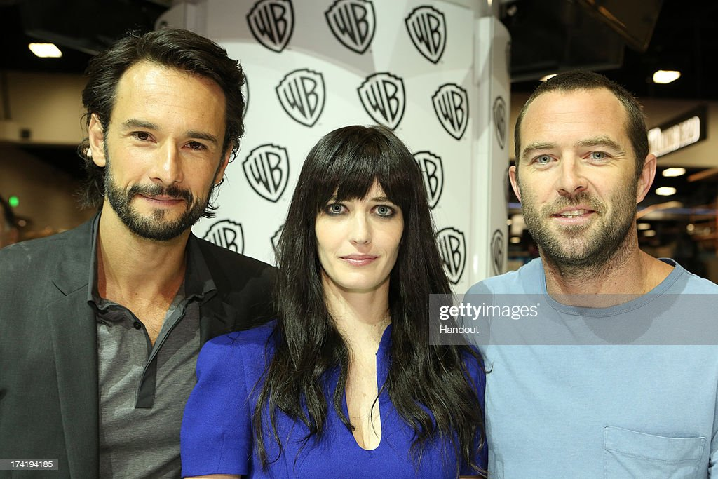 In this handout photo provided by WBTV, (L-R) actors Rodrigo Santoro, Eva Green and Sullivan Stapleton from '300: Rise of an Empire' attend the Warner Bros. booth during Comic-Con on July 20, 2013 in San Diego, California.