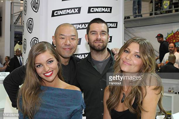 In this handout photo provided by WBTV Banshee actors band together at the Warner Bros booth Lili Simmons Hoon Lee Antony Starr and Ivana Milicevic...