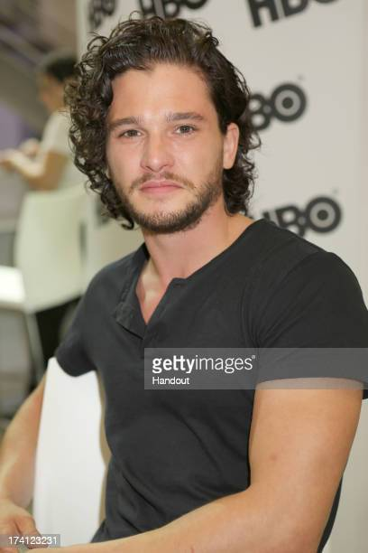In this handout photo provided by WBTV Fanfavorite Kit Harington at the Game Of Thrones signing in the Warner Bros booth at the San Diego Convention...