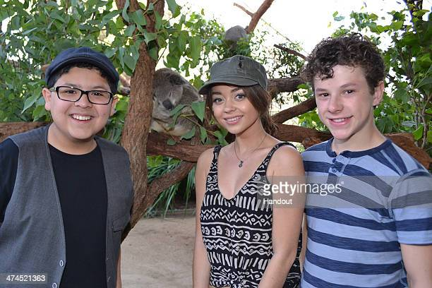 """In this handout photo provided by WILD LIFE Sydney Zoo, actors Rico Rodriguez, Sarah Hyland and Nolan Gould of """"Modern Family"""" visit the Sydney Zoo..."""