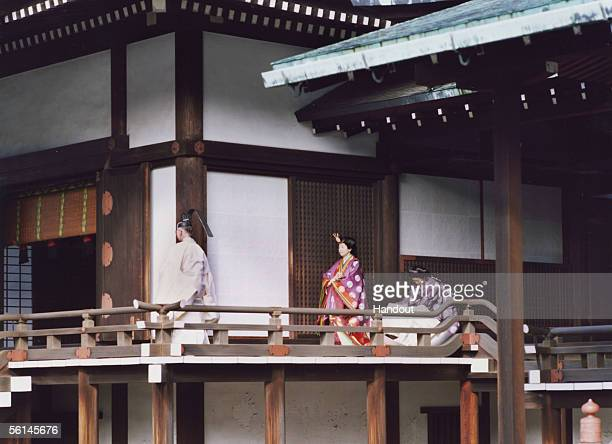 In this Handout Photo released by the Imperial Household Agency, Japan's Princess Sayako , wearing ancient Japanese formal court ensemble junihitoe ,...