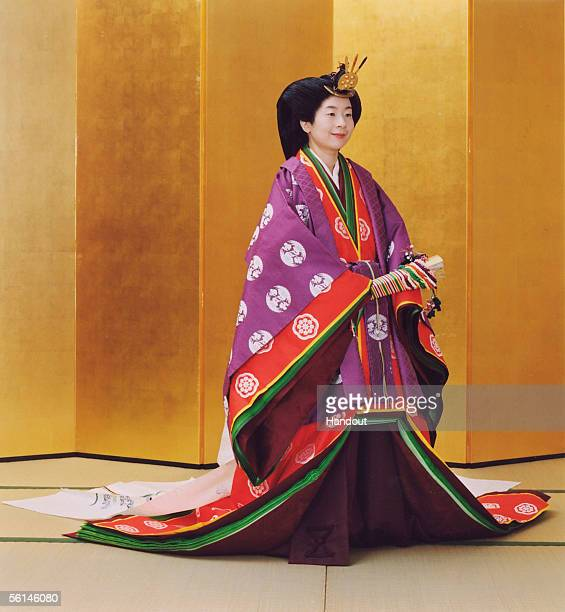 In this Handout Photo released by the Imperial Household Agency, Japan's Princess Sayako, wearing ancient Japanese formal court ensemble junihitoe ,...