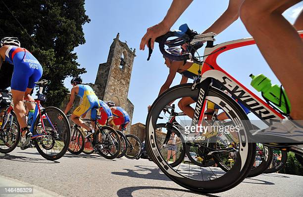 In this handout photo released by the International Triathlon Union, the elite men speed through Banyoles on the bike leg of the 2012 Banyoles ITU...