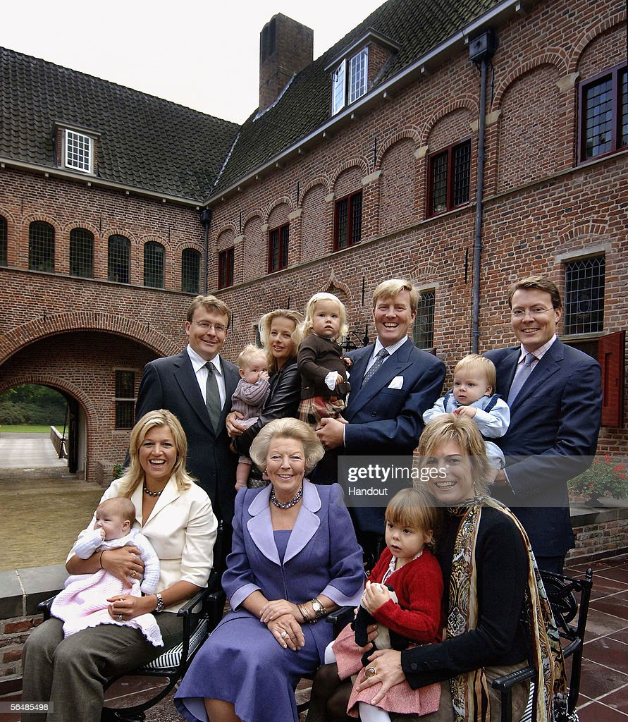 In this handout photo released by the RVD to coincide with Christmas, the Dutch royal family of (Front Row, L to R) Princess Alexia, Princess Maxima, Queen Beatrix, Princess Eloise, Princess Laurentien, (Back Row, L to R) Prince Friso, Princess Luana, Princess Mabel, Princess Amalia, Crown Prince Willem Alexander, Prince Claus Casimir and Prince Constantijn pose for a photograph to thank the Dutch people for their hospitality during her visits in the country celebrating her 25th year of being the Queen of The Netherlands.