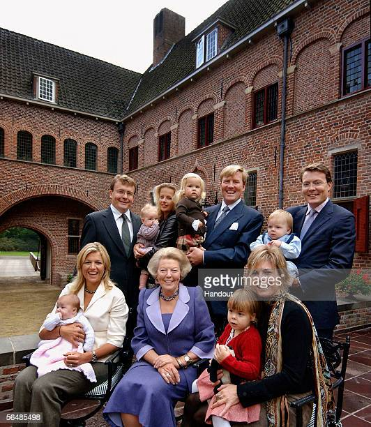 In this handout photo released by the RVD to coincide with Christmas, the Dutch royal family of Princess Alexia, Princess Maxima, Queen Beatrix,...