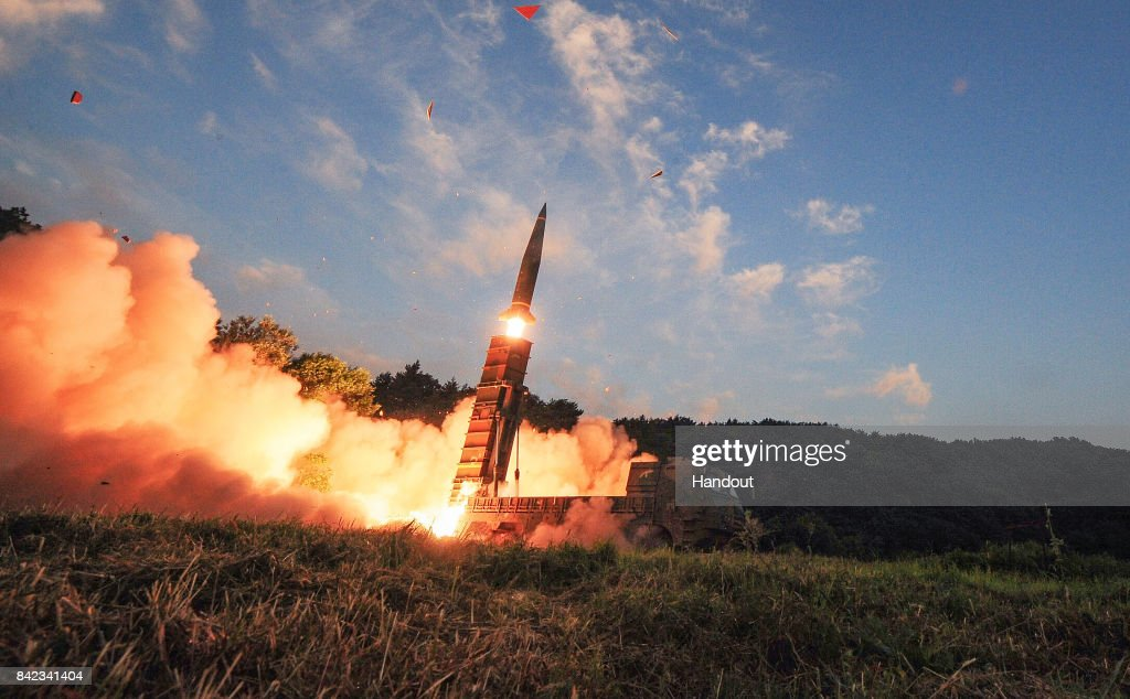 In this handout photo released by the South Korean Defense Ministry, South Korea's Hyunmu-2 ballistic missile is fired during an exercise aimed to counter North Korea's nuclear test on September 4, 2017 in East Coast, South Korea. South Korea's military said Monday it conducted a combined live-fire exercise in response to North Korea's sixth nuclear test a day earlier.